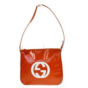 Gucci Women's Patent Leather Shoulder Bag Orange